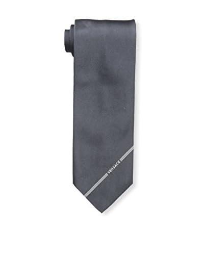 Versace Men's Solid Woven Silk Tie, Black