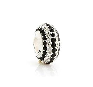 925 Sterling Silber Kristall Bead Schwarz und Weiß 14 mm