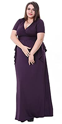 Sapphyra® Women's V-neck Solid Ruched Waist Plus Party Maxi Dress Size 1X-5X
