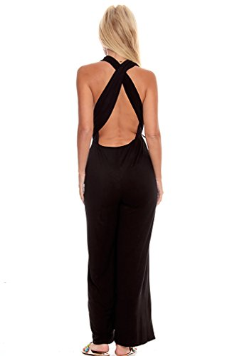 Lolli Couture Low Cut V-Neck Versatile Jumpsuit Black M back-502886