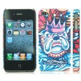 Textured Bull Dog Design Ed Hardy Hard Case Back Cover For Iphone 4 4S