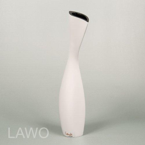 LAWO 109246 Vaso Design Laccato IVAN nero-bianco Moderno Art Deco Vaso per Fiori Esclusivo Vaso di Legno