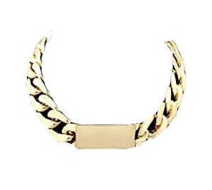 GOLD ID TAG NECKLACE THICK CHUNKY CURB COLLAR CHOKER CHAIN LINK WOMENS JEWELRY(WP-B336)