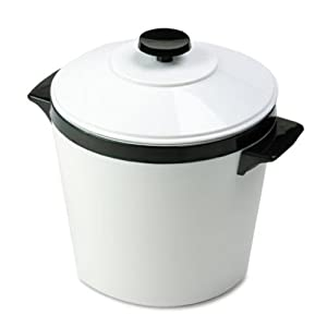 Hormel 451W Ice Bucket, Three-Quart w/Lid, Insulated Shatterproof Liner, White w/Black Trim