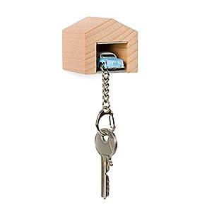 Garage mit VW Karmann Ghia für die Wand - das Design-Schlüsselboard aus Buchenholz und Edelstahl inkl. Kultauto mit Schlüsselanhänger für alle Oldtimer- und Autofans