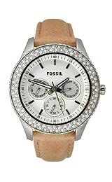 Fossil Stella Leather - Camel with Stones Women's watch #ES2997
