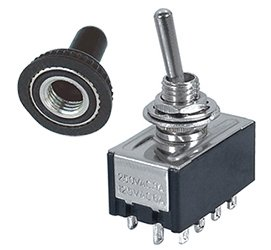 4PDT MINIATURE TOGGLE SWITCH WITH RUBBER BOOT
