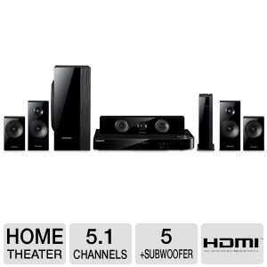 Samsung 5.1 channel 1,000-Watt 5 Speaker Smart 3D Blu-ray & DVD Home Theater System Includes Two Full-Range Wireless Front & Surround Speakers Plus Full-Range Center Speaker & Dual Unit Subwoofer Captivating 2D And 3D In Full HD 1080p, Built-in Wifi, Bluetooth Connectivity, Full Web Browser, Samsung Apps, AllShare & Anynet+, Virtual Surround 7.1 DTS Neo Fusion, Crystal Amplifier Plus Technology, HDMI, CD Ripping, BD Wise Web 3.0