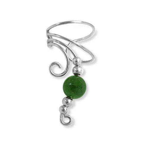 Christmas Gifts Bling Jewelry Green Jade Gemstone Ear Cuff Left Ear Long Wave 925 Sterling Silver