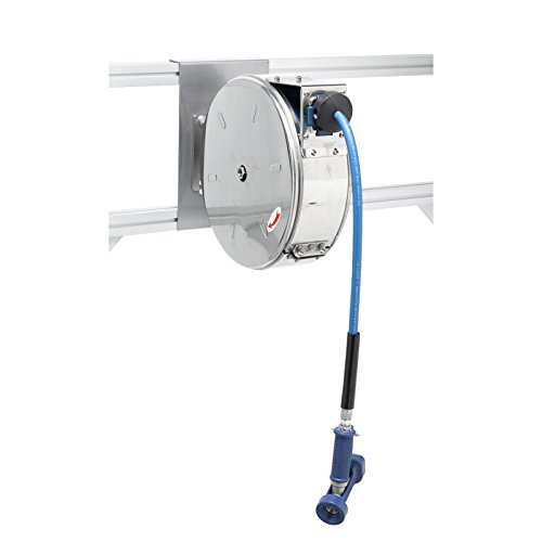 T&S Brass B-7122-C02 Enclosed Stainless Steel 30-Feet Hose Reel with Rear Trigger Water Gun (Enclosed Water Hose Reel compare prices)