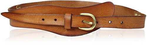 elise m. Women's Montana - Leather Asymmetrical Hip Belt with Brass Studs, Red, Small/Medium