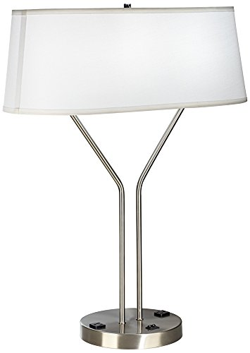 riva brushed steel usb port table lamp with power outlet check price. Black Bedroom Furniture Sets. Home Design Ideas