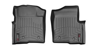 2009-2014 Ford F-150 F150 (Heating Vents Below First Row / Dual Floor Post Rentention) Front Set - WeatherTech Custom Floor Mats Liners - Black (Weathertech Floor Mats 446111 compare prices)