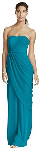 Long Strapless Mesh Bridesmaid Dress with Side Draping Style W10482, Oasis, 0 (Davids Bridal Long Dress Oasis compare prices)