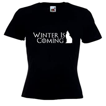 Winter Is Coming Ladies Fitted Black T-Shirt with White Print
