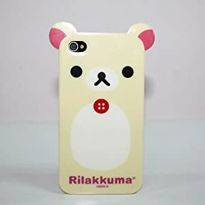 Lazy Relax Rilakkuma Bear Tough TPU Case & Screen Protector with Cleaning Cloth for Apple iPhone 4 - Yellow White