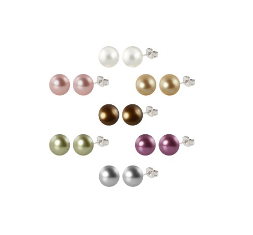 Set of 7 Shell Pearl Stud Earrings Set with Sterling Silver Post and Backs (10-10.5mm)