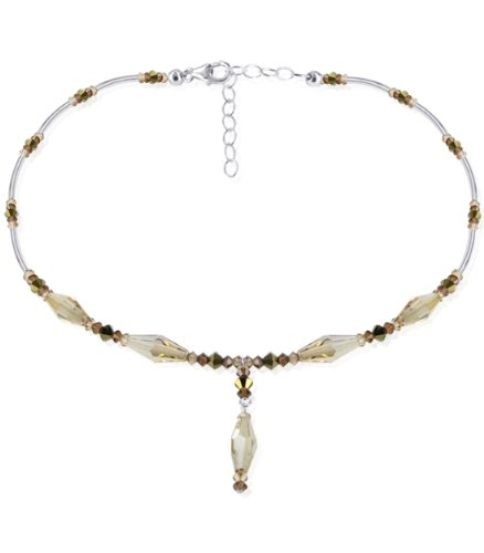 Sterling Silver Golden Shadow Small Brown Crystal Necklace 22 inch Made with Swarovski Elements