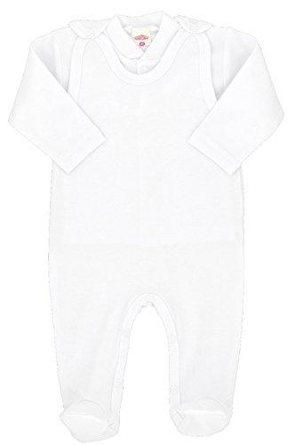 MAKOMA Baby Mädchen und Jungen Strampler-Set mit Fuß und Langarmshirt Unisex -Weiß- (56)