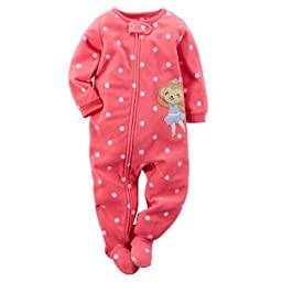 Carters Baby Girls Footed Fleece PJ (2T, Pink Polka Dot)