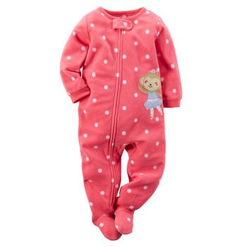 Carter's Baby Girls Footed Fleece PJ (2T, Pink Polka Dot)