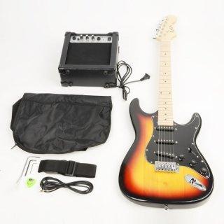 Moppi ST Black Pickguard Electric Guitar Sonnenuntergang mit Verstärker Bag Strap Werkzeug Pick jetzt bestellen