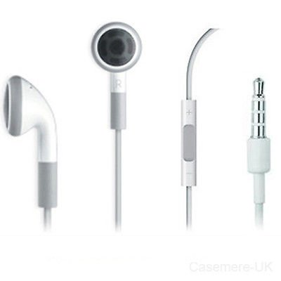 White Stereo Headset Earphones With Remote And Mic Microphone For Ipad 3 2 Iphone 3/3S 4/4S
