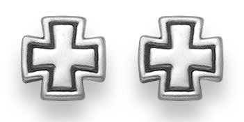 Sterling Silver Maltese Cross Stud Earrings. An Eye Catching Classic Design That Reveals Just a Bit of Your Wild Side.