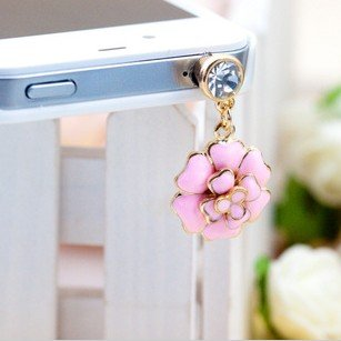 3.5Mm Beautiful Rose Camellia Japonica Flower Pattern Bling Shine Shinning Flash Crystal Diamond Cellphone Charms Stoppers Earphone Jack Anti Dust Plug Ear Jack Cap For Iphone 4 4S Samsung Galaxy S2 S3 Note I9220 Htc Sony Nokia Motorola Lg Lenovo