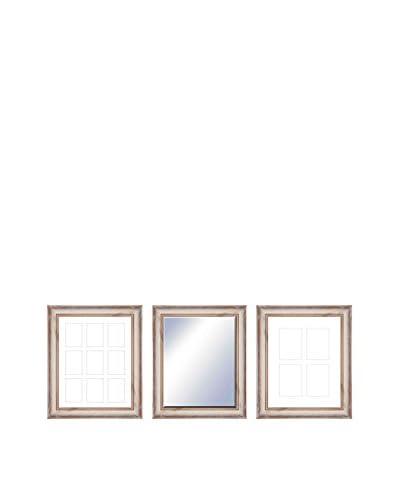 PTM Images Hazel Gallery 3-Piece Wood Mirror & Photo Collage Set, Rustic Cream