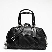 Hot Sale Coach Ashley Signature Sateen Satchel, Style F 19242, Black Grey