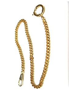 Pocket Watch Chain Fob Curb Link Design Gold-Tone 14