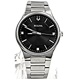 Bulova Stainless Steel Diamond Accented Black Dial Men's Watch 96D140
