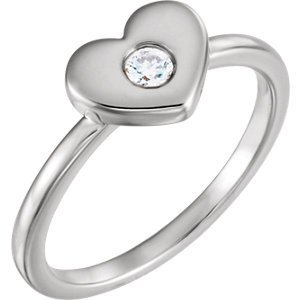 14kt White 1/10 CTW Diamond Heart Ring