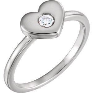 14kt White 1/10 CTW Diamond Heart Ring
