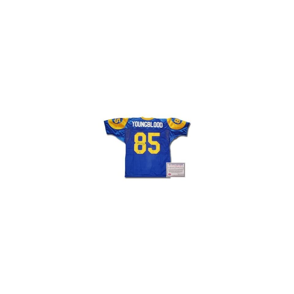 Jack Youngblood Los Angeles Rams NFL Hand Signed Authentic Style Home Blue Football Jersey