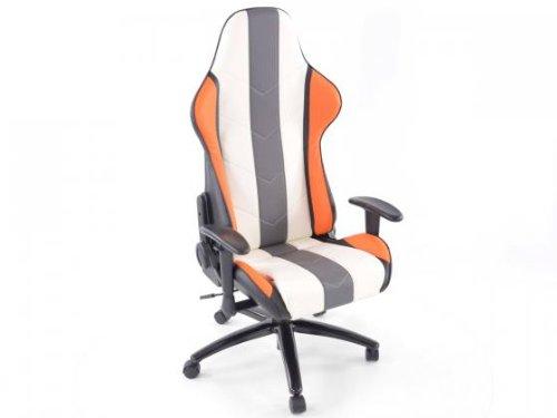 Bürostuhl Sportsitz Denver mit Armlehnen Kunstleder orange/weiß/grau