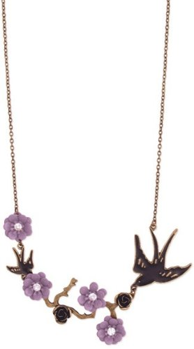 ZAD Purple Flower and Bird's on Branch Fashion Necklace on Antique Gold Chain