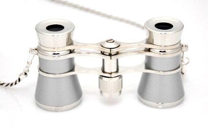 Finissimo Optics 3X25 Platinum Finish Opera Glasses With Chain Necklace / Theater Binoculars / With Silver Trim