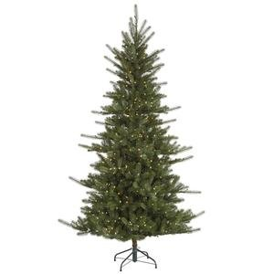 """Colorado 6' 6"""" Green Slim Spruce Artificial Christmas Tree With 500 Led White Lights With Stand"""