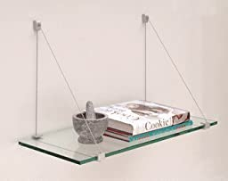 C.R. LAURENCE 624K CRL Satin Aluminum 6 x 24 Cable Glass Shelf Kit by C.R. Laurence