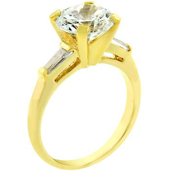 14K Gold Bonded Engagement Triplet Emerald Cut Ring