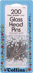 Dritz White Glass Head Pins Size 22 200/Pkg C103; 2 Items/Order