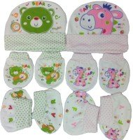 Baby Caps Mittens Booties Set for New Born Pack of 2 - (0-6 Months) (1 Pink,1 Green)