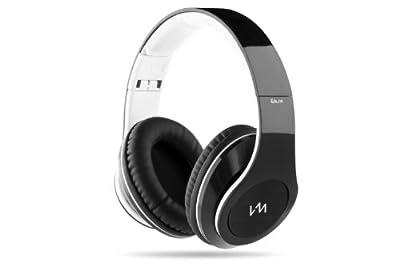 VM Audio Elux Over Ear DJ Stereo MP3 iPhone Bass Headphones - Piano Black/White