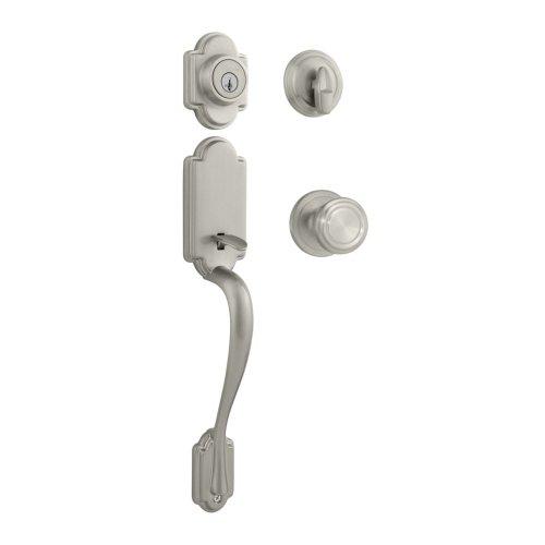 Kwikset Arlington Single Cylinder Handleset W/Tustin Lever Featuring Smartkey® In Satin Nickel front-264739