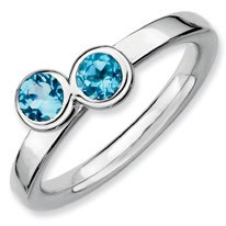 0.59ct Silver Stackable Db Round Blue Topaz Ring Band. Sizes 5-10 Available