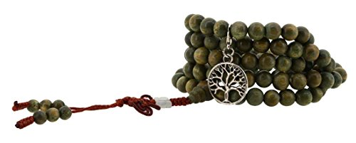 Handmade Tibetan Elastic String 8mm Sandalwood Scented Wood 108 Prayer Beads Wrap Bracelet Mala with Removable Charms (Silver Tone Tree of Life)