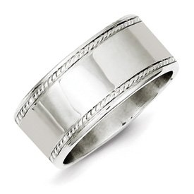 Genuine IceCarats Designer Jewelry Gift Sterling Silver 9.5Mm Designed Edge Band Size 6.00