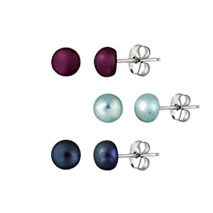 Click to buy Cheap Pearl Earring: Stainless Steel Freshwater Cultured Pearl Stud Earrings (Dark Blue, Aqua Blue, Fuchsia Pink) from Amazon!